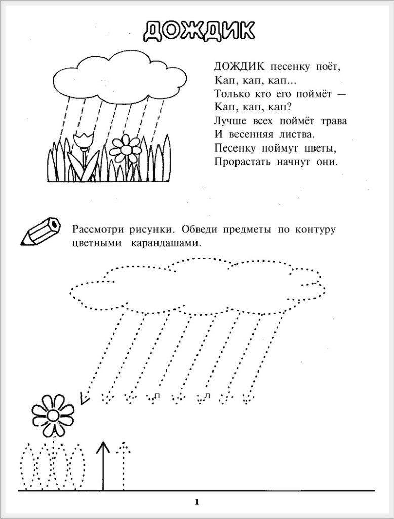 учимся рисовать тучку с дождиком