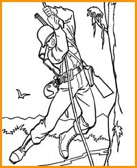 раскраска солдат лезет по веревке