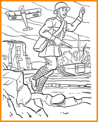 раскраска солдат в бою