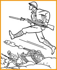 раскраска солдаты на поле боя