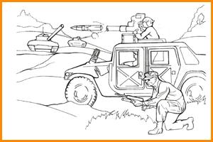 раскраска военная атака
