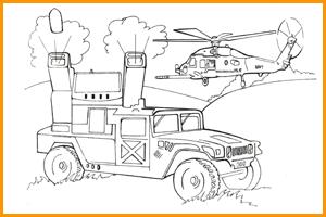 раскраска военная машина и вертолет