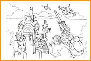 раскраска военные пушки