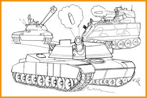 раскраска военные танки