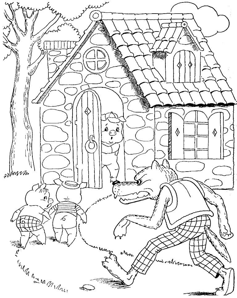 Рисунок к сказке три поросенка карандашом