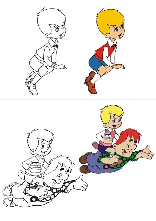 """Веселые раскраски для малышей """"Малыш и Карлсон"""""""