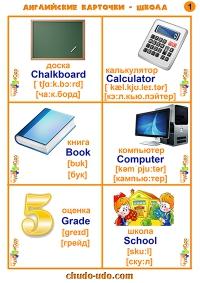 английские карточки школьные предметы