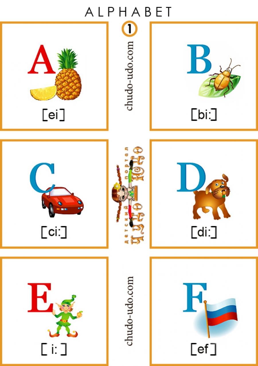 Английский алфавит - Карточки для распечатки